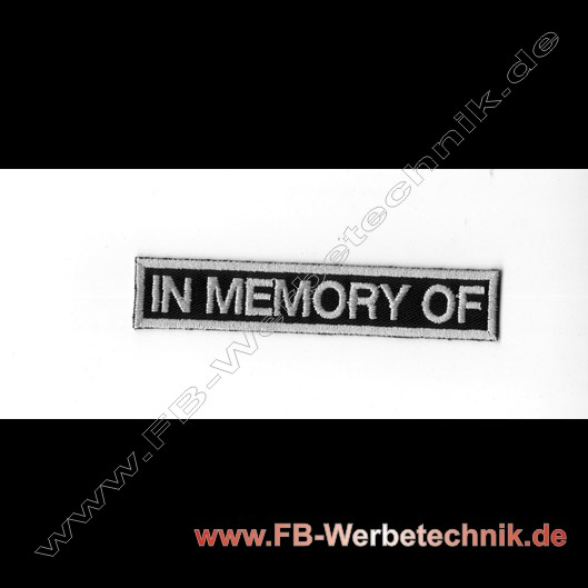 IN MEMORY OF Aufnäher Biker Patch