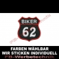 Preview: BIKER 62 Aufnäher Patches 8x7,5cm Wappen