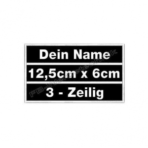 Namensschilder 12,5 x 6cm Patches Aufnäher 3in1 S01