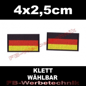 2x Deutschland Flagge Fahne SET 4x2,5cm Patches