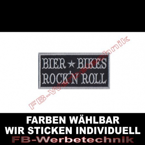 Bier Bikes Rock n Roll Aufnäher Patch 8x4cm