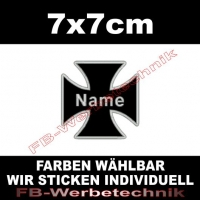 Wunschtext Kreuz 7x7cm Cross Patch S01