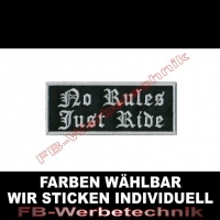 NO RULES JUST RIDE Aufnäher Patches 10x4cm